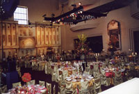 A gala event with table and overhead lighting